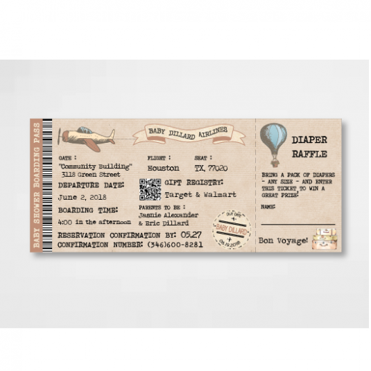 Baby shower plane boarding pass ticket invitation cargoh baby shower plane boarding pass ticket invitation filmwisefo