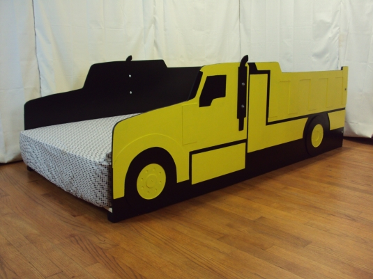 Dump truck twin kids bed frame handcrafted haul truck themed children 39 s bedroom furniture - Dump truck twin bed ...