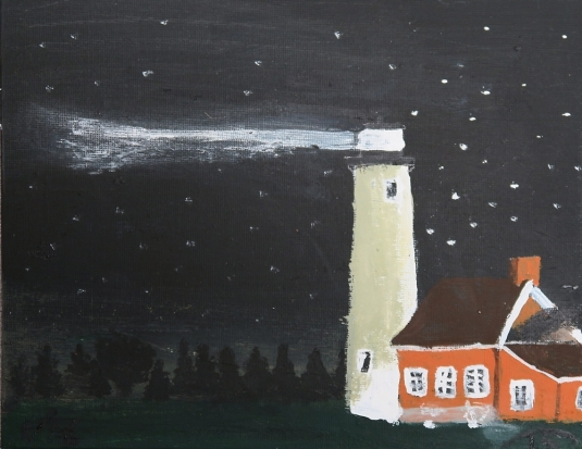 Lighthouse In The Darkness Starlit Night Sky Painting 11x14