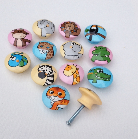 Y Jungle Animal Hand Painted Drawer Pulls Dresser S Cabinet Handles For Nursery Rooms