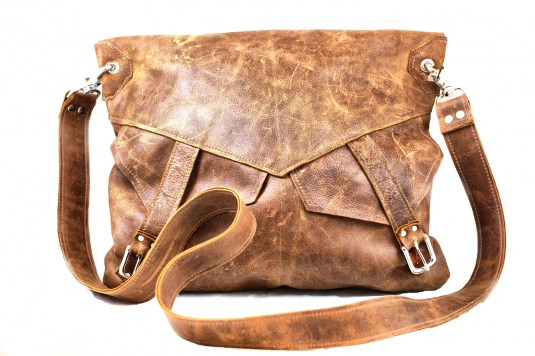 b5baddea66c6 Distressed Leather Messenger Bag - Large Slouchy Purse - Hipster Fold-over  Hobo Bag - Brown Leather Purse