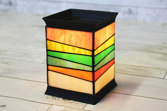 Electric Handmade Stained Glass Candle Warmer Lamp, Tiffany Style Table Lamp,  Wax Melter, Tart Burner [ Trailing Ribbons ]