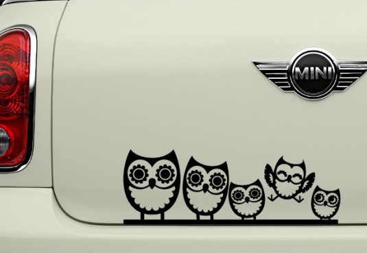 Owl Family Vinyl Die Cut Sticker Decal  Colors FREE SHIPPING - Owl family custom vinyl decals for car