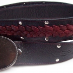 3 part braided belt red on black
