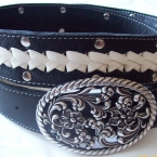 2 part braided belt white on brown