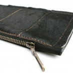 leather and cow hide clutch/ envelope bag - BLACK