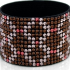 Hancoli Brown and Pink Swarovski Cuff