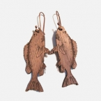 dark wood fish dangle earrings