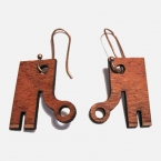 wood elephant dangle earrings