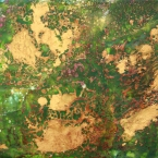 Afternoon at the Pond, encastic painting, green, gold, magenta
