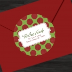 Red and Green Holiday Polka Dotted 2 inch Personalized Address labels, Gift Stic