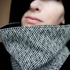 Black and White Herringbone Tweed Neckwarmer Cowl Scarf