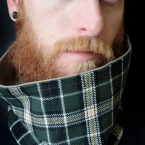 Cowl Neckwarmer Scarf in Green Tartan Plaid