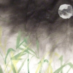 Moon over Grass Fine Art Print