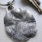 Sterling Silver Dog Paw Key Chain Keychain Personalized with Name