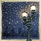 Winter Night in Portland – 8x10 matted print illustrated by Alex Wijnen