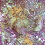 In a Purple Mood, Encaustic Painting, purple, gold, white, green