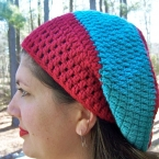 turquoise red slouch hat beret