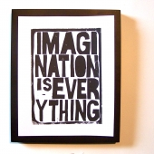imagination is everything black linocut letterpress