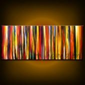 56 X 22 X 3/4 in. thick original stripes design abstract painting.