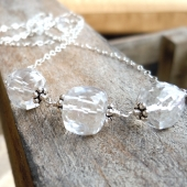Ice Cubes Crystal Quartz Sterling Silver Necklace