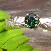Green tourmaline gemstone ring in sterling and palladium