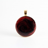 Red & Black Mica Circle Gold tone Pendant