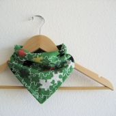 Green puzzle print bandana bib for baby