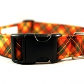 Pumpkin Patch Plaid Fabric Dog Collar