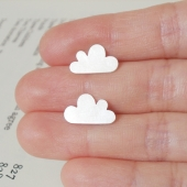 lucky happy cloud earring studs in sterling silver, handmade in beautiful Cornwa