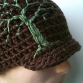 Brimmed Beanie with Embroidered Tree- Chocolate Brown, Sage Green