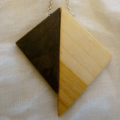 White Birch & Black Walnut Triangles Necklace