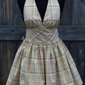 Pink plaid MARYLIN halter bombshell full apron