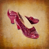 Ruby Slipper Photo, textured, antique