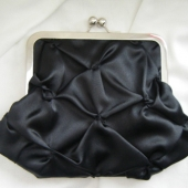 Pinch Puff Clutch in Black Satin