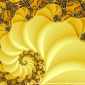 Busy Bees - fractal art print - modern art with a yellow and black spiral