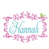 Fancy Frame Monogram with Bird Wall Decal