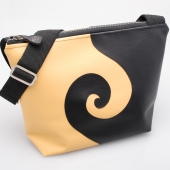 Yellow and Black Swirl Medium Shoulder Bag FRONT