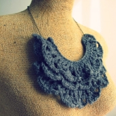 gray knit crochet collar bib necklace