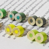 the whole set of yellow and green series color pencil ear studs