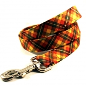 Pumpkin Patch Plaid Dog Leash