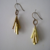 Vintage Brass Stick Bar and Antique Brass Matchstick Earrings