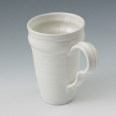 hand thrown tapered mug in marshmallow white