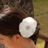 Aurelia White silk hair flower with russian veiling - $48