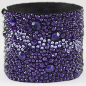 Hancoli Purple Velvet Leather Cuff