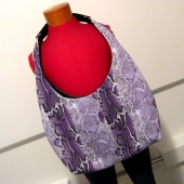 Purple Snakeskin Print Hobo with Upcycled Black and White Stripe Belt