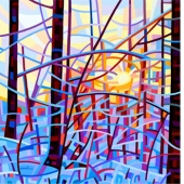 budanart reproduction print sunrise abstract