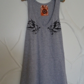 Hand Printed SWALLOWS Gray Tank Top - Small Medium - FREE WW SHIP - AlpineGypsy