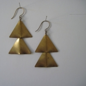 Vintage Brass Triangle Earrings