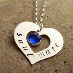 sterling open heart with birthstone